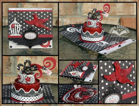 Black Red Congrats Cake