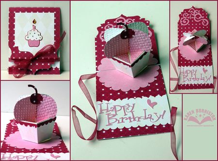 Pink Happy Birthday Cupcake card